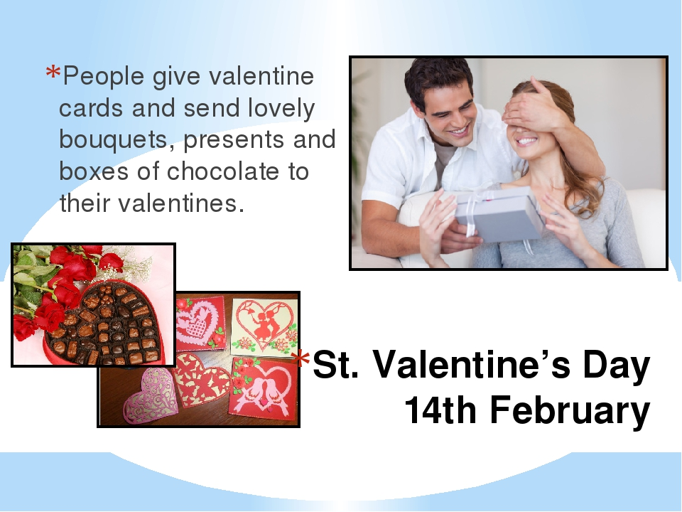 St. Valentine's Day 14th February People give valentine cards and send lovely...