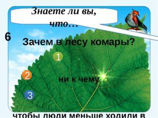 Зачем в лесу комары? ни к чему чтобы люди меньше ходили в лес в природе нет н
