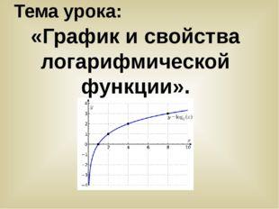 Тема урока: «График и свойства логарифмической функции».