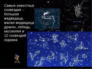 Самые известные созвездия – большая медведица, малая медведица, дракон, лебед