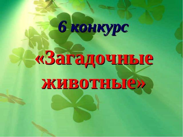 6 конкурс «Загадочные животные»