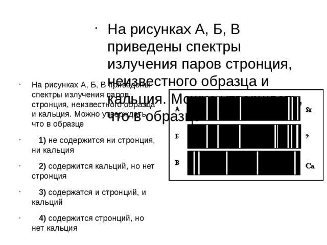 На рисунках А, Б, В приведены спектры излучения паров стронция, неизвестного...