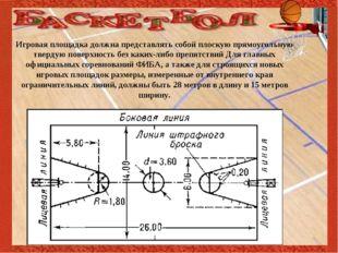 Игровая площадка должна представлять собой плоскую прямоугольную твердую пов