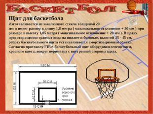 Щит для баскетбола Изготавливается из закаленного стекла толщиной 20 мм и им