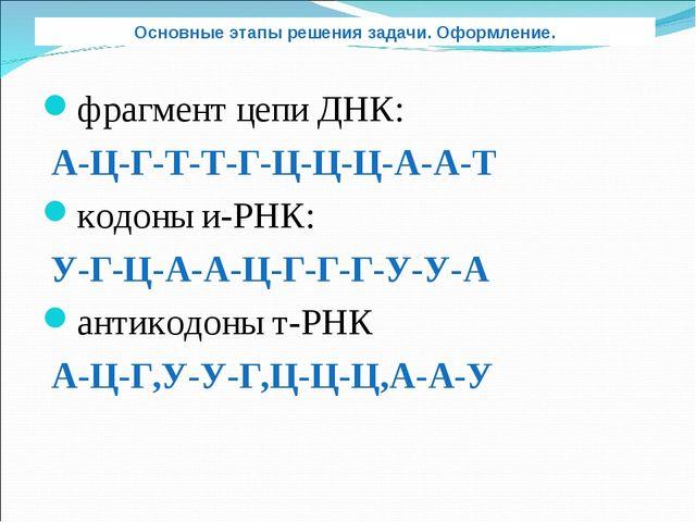 фрагмент цепи ДНК: А-Ц-Г-Т-Т-Г-Ц-Ц-Ц-А-А-Т кодоны и-РНК: У-Г-Ц-А-А-Ц-Г-Г-Г-У-...