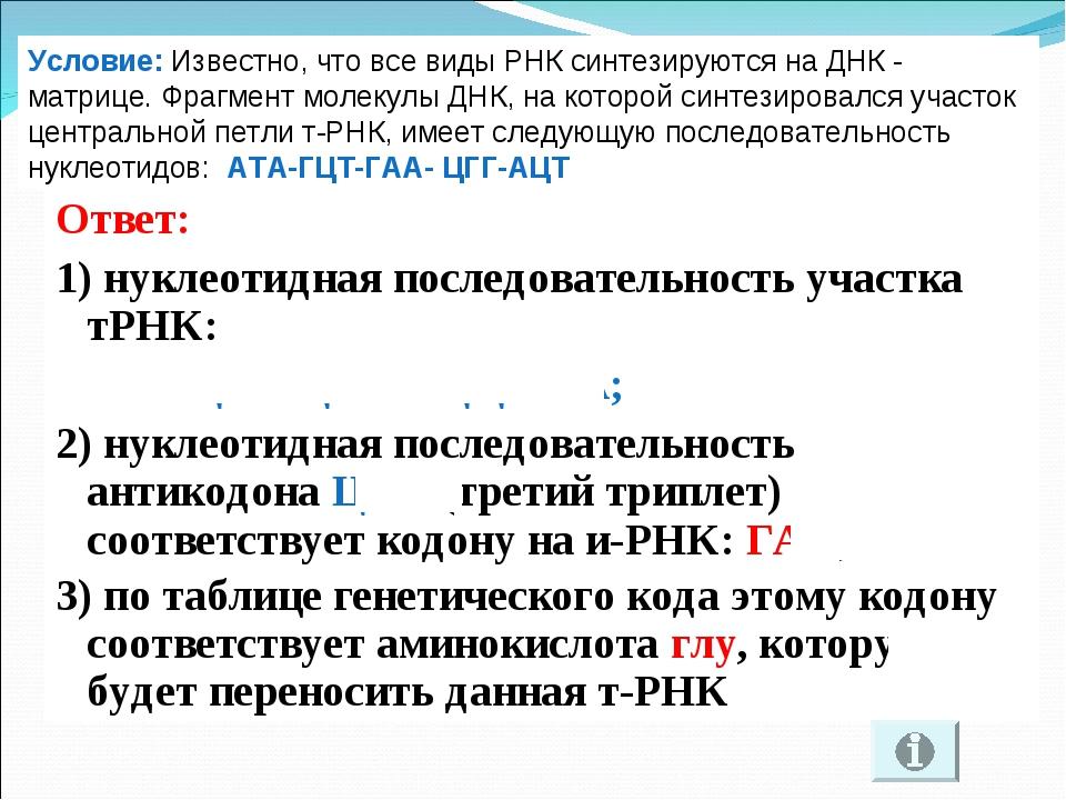 Ответ: 1) нуклеотидная последовательность участка тРНК: УАУ-ЦГА-ЦУУ-ГЦЦ-УГА;...