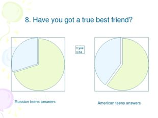 8. Have you got a true best friend? Russian teens answers American teens answ