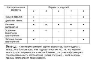 Вывод: Анализируя критерии оценки вариантов, можно сделать вывод , что больше
