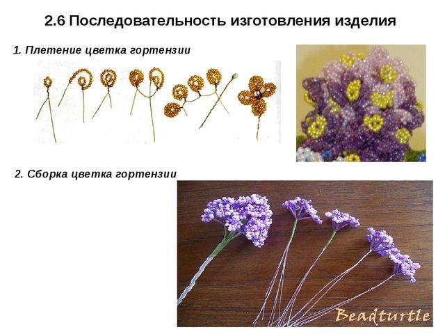 2.6 Последовательность изготовления изделия 1. Плетение цветка гортензии 2. С...
