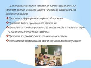 В нашей школе действует комплексная система воспитательных программ, которая