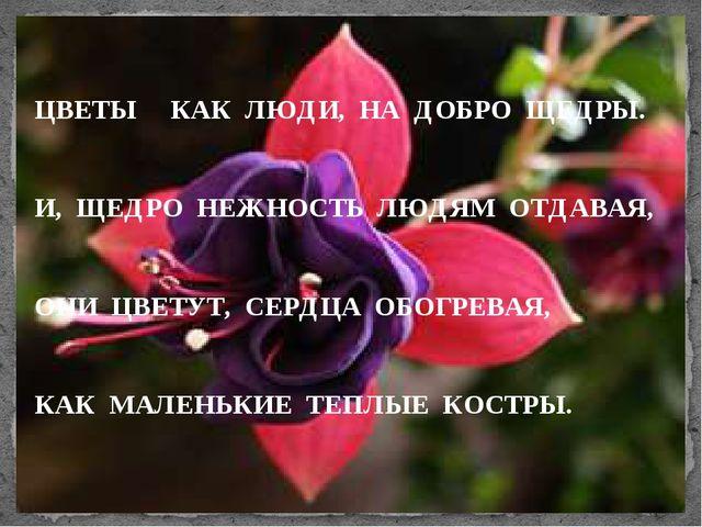 ЦВЕТЫ КАК ЛЮДИ, НА ДОБРО ЩЕДРЫ. И, ЩЕДРО НЕЖНОСТЬ ЛЮДЯМ ОТДАВАЯ, ОНИ ЦВЕТУТ,...
