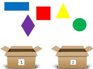1 2 Какая фигура лишняя и почему? (круг) 2) Разделите оставшиеся фигуры на 2