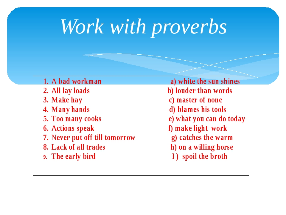 Work with proverbs