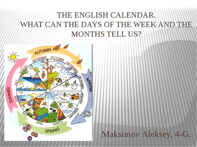 THE ENGLISH CALENDAR. WHAT CAN THE DAYS OF THE WEEK AND THE MONTHS TELL US? M...