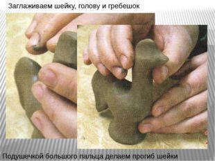 Заглаживаем шейку, голову и гребешок Подушечкой большого пальца делаем прогиб