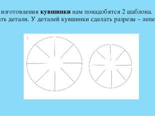 2. Для изготовлениякувшинкинам понадобятся 2 шаблона. Вырезать детали. У де