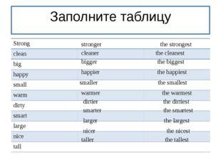 Заполните таблицу stronger the strongest cleaner the cleanest bigger the big