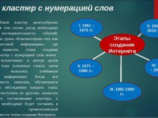 Вид: кластер с нумерацией слов Подобный кластер целесообразно использовать в