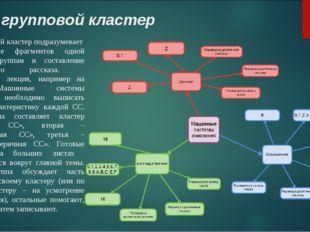 Вид: групповой кластер Групповой кластер подразумевает распределение фрагмент