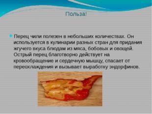 Польза! Перец чили полезен в небольших количествах. Он используется в кулинар