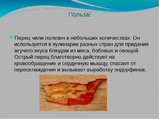 Польза! Перец чили полезен в небольших количествах. Он используется в кулинар...