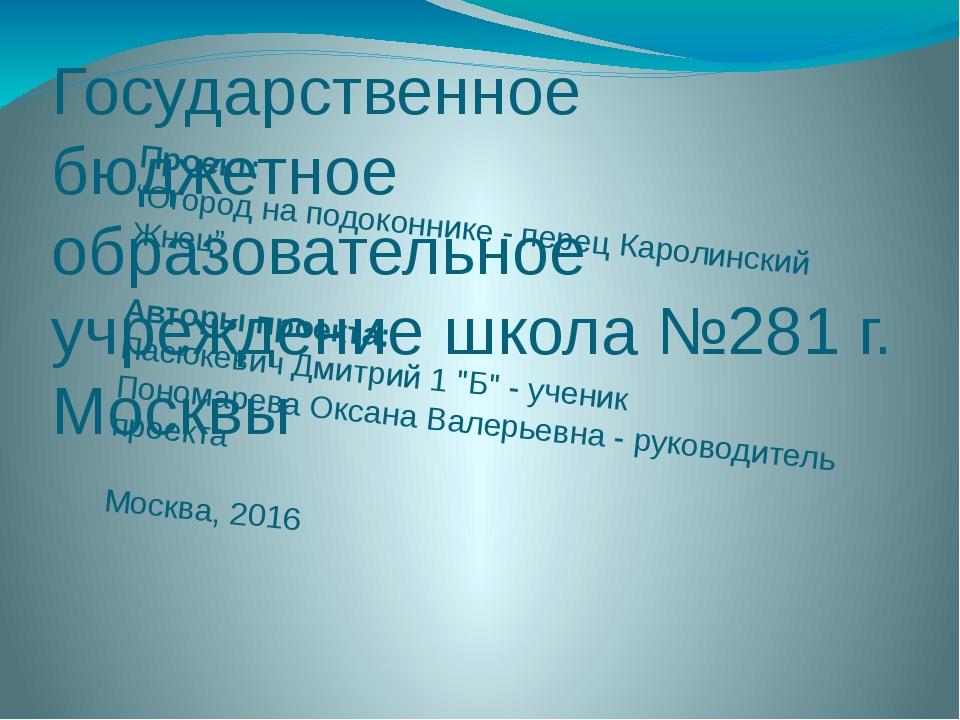 """Проект: """"Огород на подоконнике - перец Каролинский Жнец""""  Авторы проекта:..."""