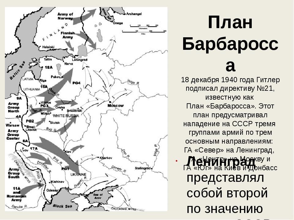 План Барбаросса 18 декабря 1940 года Гитлер подписал директиву №21, известную...