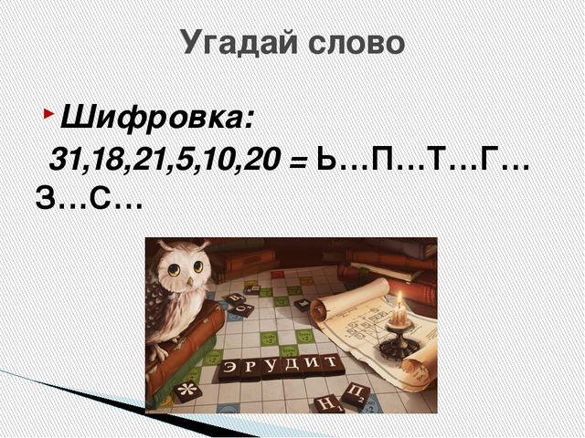 Угадай слово Шифровка: 31,18,21,5,10,20 = Ь…П…Т…Г…З…С…