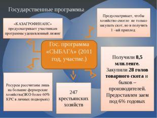 Государственные программы: Гос. программа «СЫБАГА» (2011 год, участие.) Преду