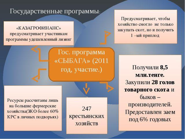 Государственные программы: Гос. программа «СЫБАГА» (2011 год, участие.) Преду...