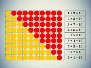 1 + 9 = 10 2 + 8 = 10 3 + 7 = 10 4 + 6 = 10 5 + 5 = 10 6 + 4 = 10 7 + 3 = 10