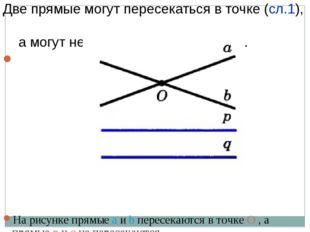 Две прямые могут пересекаться в точке (сл.1), а могут не пересекаться (случай