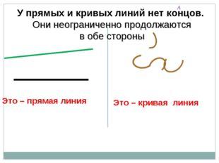 А У прямых и кривых линий нет концов. Они неограниченно продолжаются в обе ст