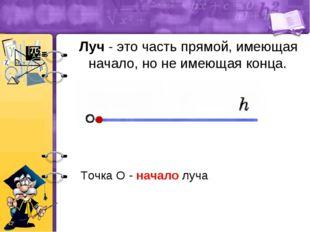 Луч - это часть прямой, имеющая начало, но не имеющая конца. Точка O - начал