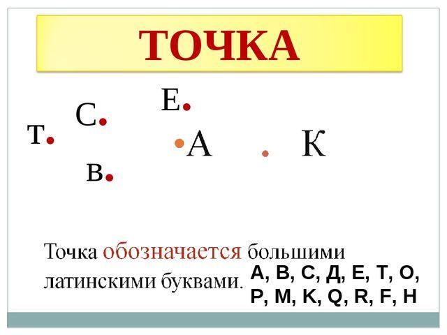 в. С. т. Е. А, В, С, Д, Е, Т, О, Р, М, K, Q, R, F, H «Точка» в русском языке...