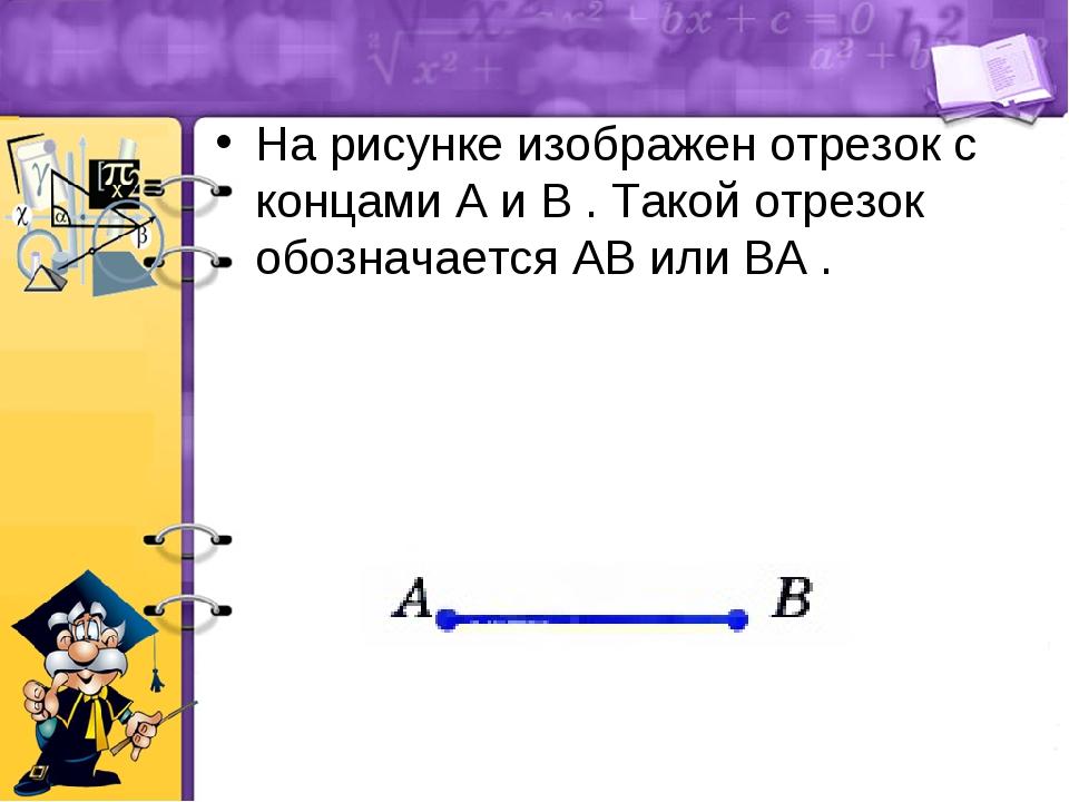 На рисунке изображен отрезок с концами A и B . Такой отрезок обозначается AB...