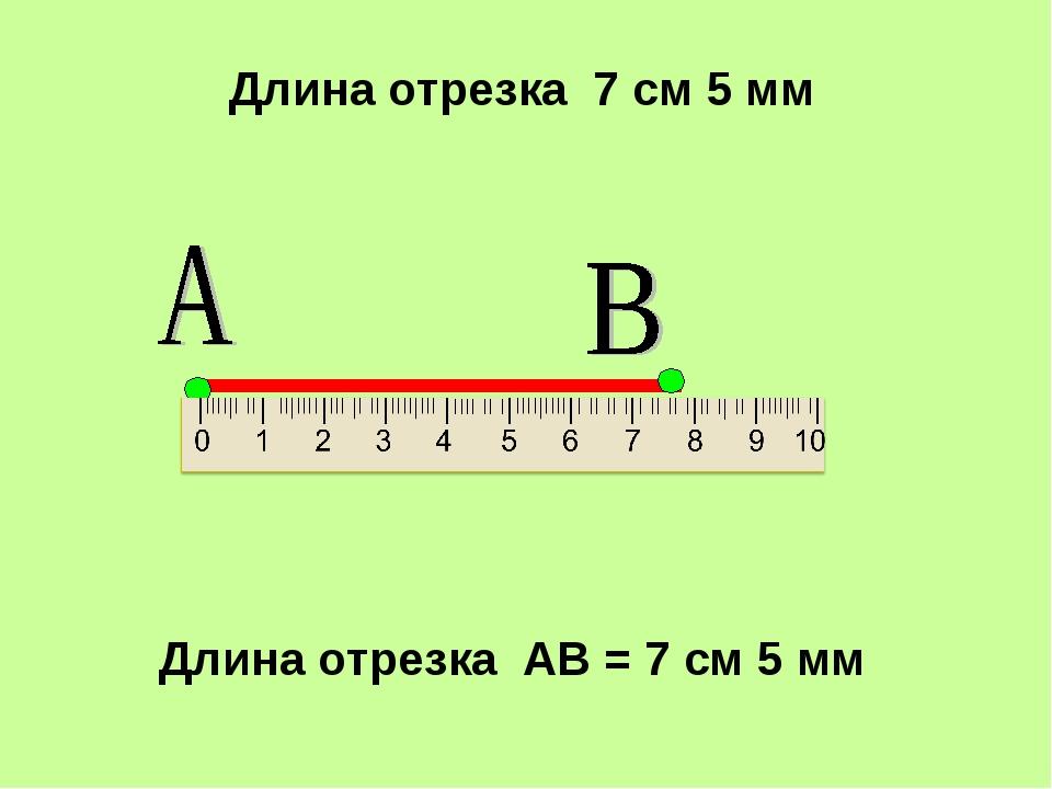 Длина отрезка 7 см 5 мм Длина отрезка АВ = 7 см 5 мм