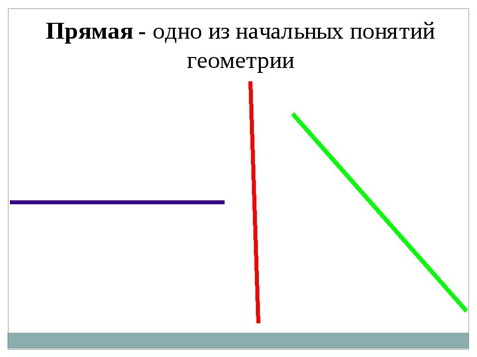 Прямая - одно из начальных понятий геометрии