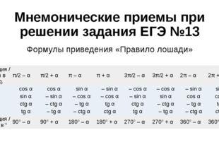 Мнемонические приемы при решении задания ЕГЭ №13 Формулы приведения «Правило