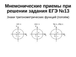Мнемонические приемы при решении задания ЕГЭ №13 Знаки тригонометрических фун