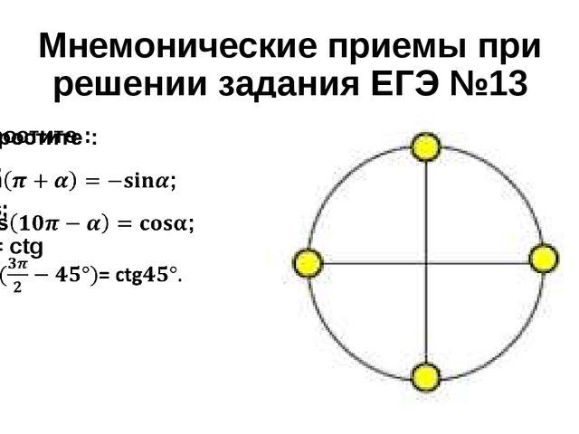 Мнемонические приемы при решении задания ЕГЭ №13