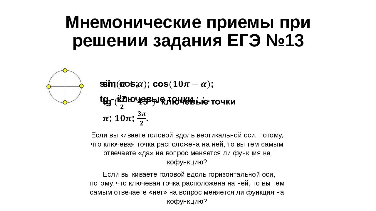 Мнемонические приемы при решении задания ЕГЭ №13 Если вы киваете головой вдол...