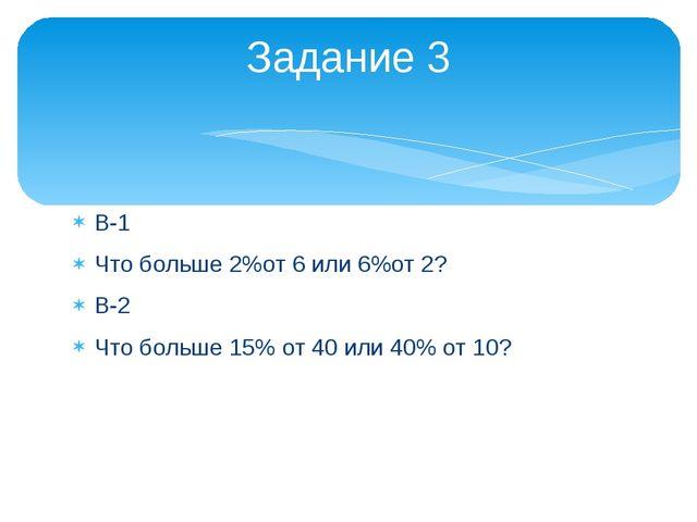 В-1 Что больше 2%от 6 или 6%от 2? В-2 Что больше 15% от 40 или 40% от 10? Зад...