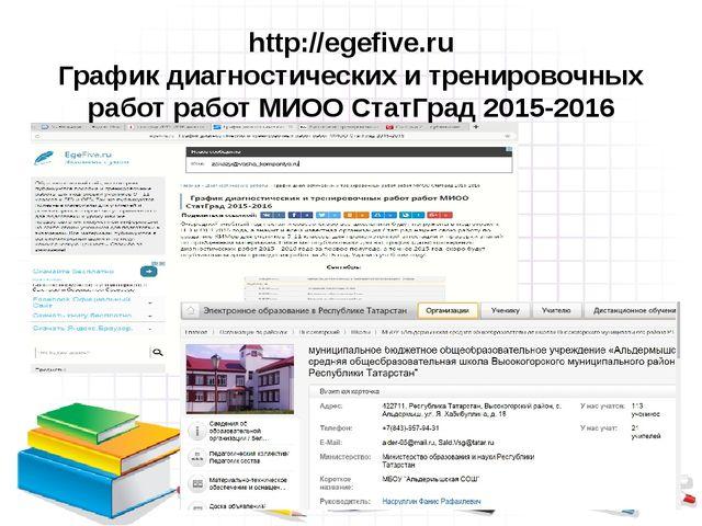 http://egefive.ru График диагностических и тренировочных работ работ МИОО Ста...
