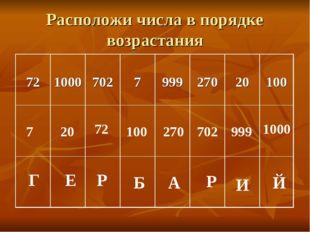 Расположи числа в порядке возрастания Г Е Р Б А Р И Й 7 72 100 20 270 702 999