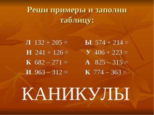 Реши примеры и заполни таблицу: Л 132 + 205 = Ы 574 + 214 = Н 241 + 126 = У