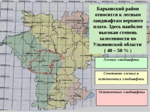 Барышский район относится к лесным ландшафтам верхнего плато. Здесь наиболее