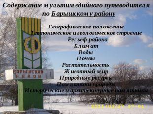 Содержание мультимедийного путеводителя по Барышскому району Географическое п