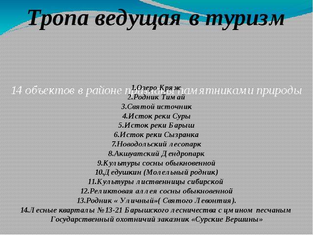 14 объектов в районе признаны памятниками природы 1.Озеро Кряж 2.Родник Тимай...