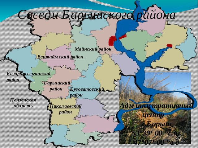 Соседи Барышского района Кузоватовский район Майнский район Вешкаймский район...